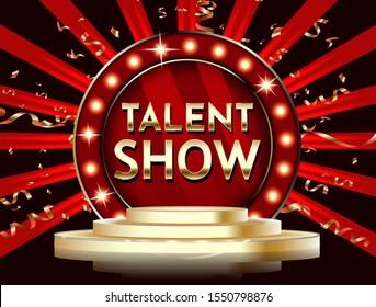 Talent show banner, poster, gold lettering advertisement or invitation, event, vector illustration