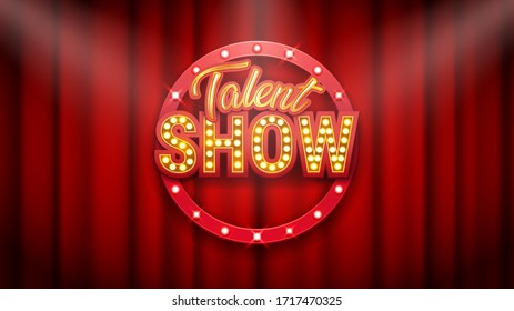 Talent show banner, poster, gold inscription on red curtain, advertising or invitation, event, vector illustration