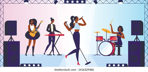 Talent Show or Girls Music Band Concert on Stage. Female Artists Performing on Scene with Musical Entertainment, Singing Song, Playing Instrumental Accompany, Party. Cartoon Flat Vector Illustration