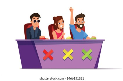 Talent show judges flat vector illustration. Celebrities judging contestants and pressing buttons isolated cartoon characters on white background. TV reality show, entertainment industry