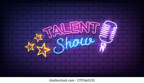 Talent show neon sign banner, poster, with stars and microphone, bright signboard, advertising or invitation, event, vector illustration.