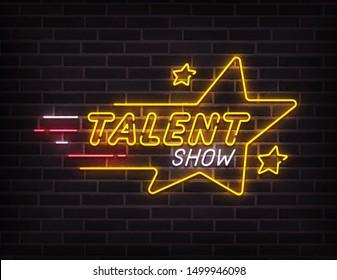 Talent Show neon sign, bright signboard, light banner. Talent Show logo neon, emblem. Vector illustration