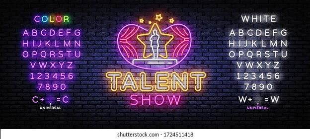 Talent Show neon sign vector. Talent Show Design template, light banner, night signboard, nightly bright advertising, light inscription. Vector illustration. Editing text neon sign.