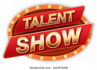 Talent show sign stage banner, red curtains and event invitation poster. Theater performance banner vector illustration