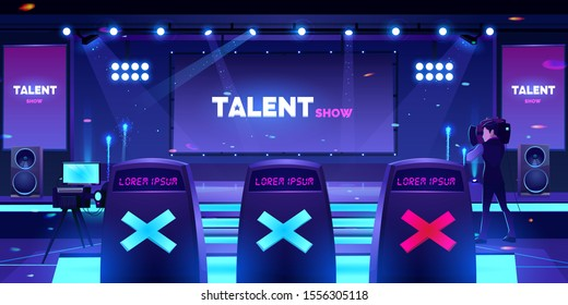 Talent show stage with jury chairs rear view, empty scene with neon spotlights illumination, huge screen and video operator with camera for recording television competition Cartoon vector illustration