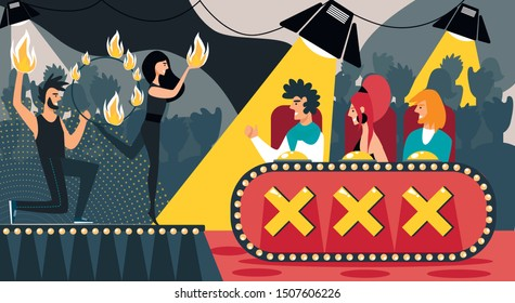 Talent Show Vector Illustration. Cartoon People Fire Juggling Performance. Man Woman in Jury Judge. Fireshow, Fire Hoop, Burning Torch, Flame Juggler. CompetitionTelevision Show, Audition Contest
