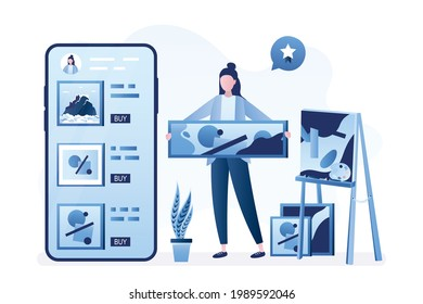 Talented female artist draws pictures and sells them online. Creative woman add various artworks to mobile application. Internet marketplace for art objects trading, auction. Flat vector illustration