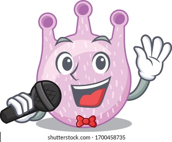 Talented singer of viridans streptococci cartoon character holding a microphone