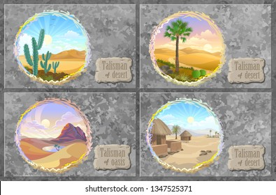 Talismans of desert landscapes with villages, oasis, roads, cactuses and plants