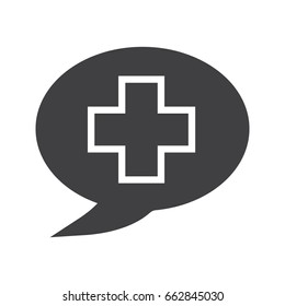 Talk about medicine glyph icon. Silhouette symbol. Medical consultation. Chat box with medical cross. Negative space. Vector isolated illustration