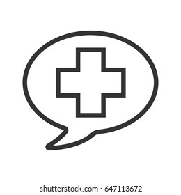 Talk about medicine linear icon. Thin line illustration. Medical consultation. Chat box with medical cross contour symbol. Vector isolated outline drawing