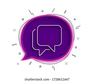 Talk bubble line icon. Chat bubble with shadow. Speech bubble sign. Chat message symbol. Thin line talk bubble icon. Vector