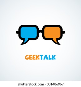 Talk chat bubbles in the form of glasses. Vector illustration.