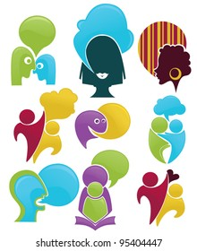 talk and communication , vector set of abstract people