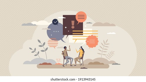 Talk conversation and speaking dialogue as communication tiny person concept. Social information sharing with language, text, speech or discussion vector illustration. Together couple exchanging news.
