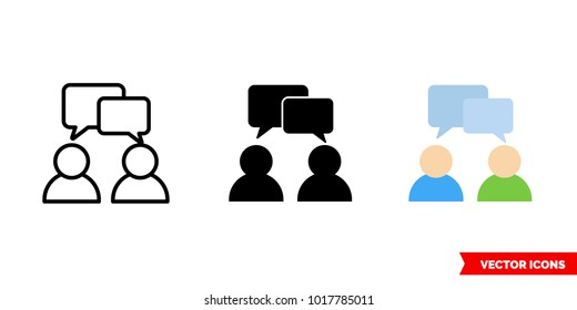 Talk icon of 3 types: color, black and white, outline. Isolated vector sign symbol.