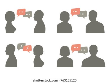 talk icon vector illustration. couple dialog ith speech bubble, communication concept