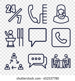 Talk icons set. set of 9 talk outline icons such as customer support, chat, meeting, call, phone, 24 hours support, speaker