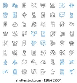 talk icons set. Collection of talk with message, smartphone, bubbles, no chatting, conversation, chat, robot, phone, voice, biography, customer service. Editable and scalable talk icons.