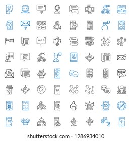talk icons set. Collection of talk with smartphone, chat, robot, no chatting, discussion, bubbles, speech bubble, message, telephone, biography. Editable and scalable talk icons.