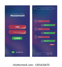 Talk interface with chat boxes and icons vector message template. Realistic gradient background