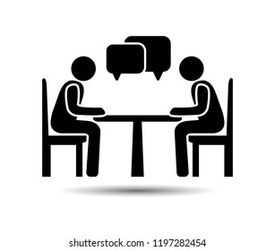 Talk people Icon, Vector people at a table talking
