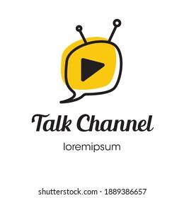 Talk Show Channel logo symbol or icon template design