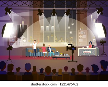 Talk show concept with three participants sitting on a couch and female reporter. Vector  flat illustration