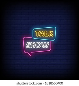 Talk Show Neon Signs Style Text Vector