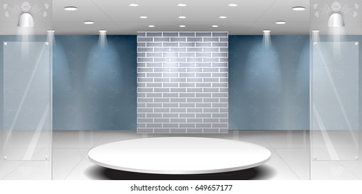 Talk show studio interior with modern wide space room