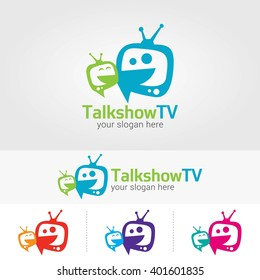 talk show  TV Logo Design Template. Vector illustration