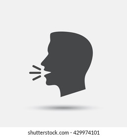 Talk or speak icon. Loud noise symbol. Human talking sign. Flat speak web icon on white background. Vector