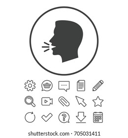 Talk or speak icon. Loud noise symbol. Human talking sign. Document, Chat and Paper clip line signs. Question, Pencil and Calendar line icons. Star, Download and Shopping cart. Vector