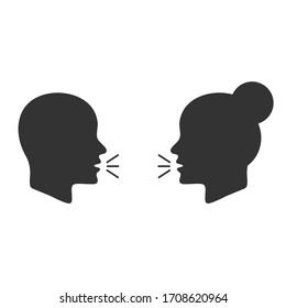Talk or speak icons. Loud noise symbols. Human talking sign. Vector illustration