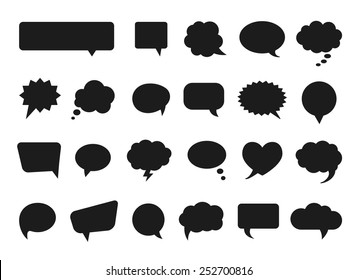 Talk and think comics bubbles silhouettes for communication. Vector illustration