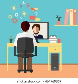 Talk through the Internet. Two businessmen communicate via Internet. Vector illustration