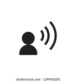 Talk vector icon sign symbol. Talking icon. Voice command with sound waves icon vector. Speech man icon. Speak vector