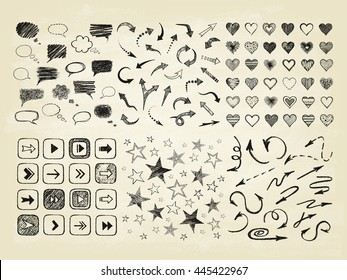 Talking bubble set and collection of stars, arrows, hearts. Set of hand drawn symbols. Vector illustration.