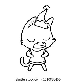 talking cat hand drawn line drawing of a wearing santa hat