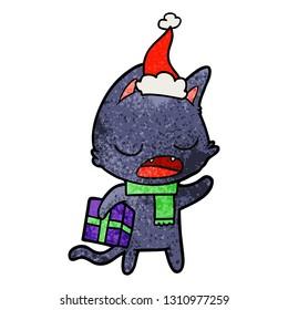 talking cat hand drawn textured cartoon of a wearing santa hat