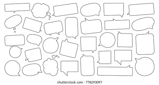 Talking cloud icons set. Vector illustration