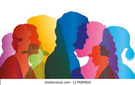 Talking crowd. Dialogue between people. Colored silhouette profiles. Multiple exposure vector