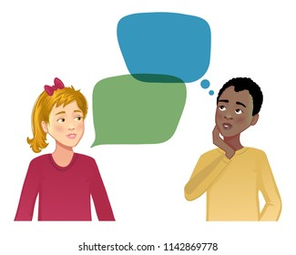 Talking girl and African American boy with speech bubbles, vector image, eps10