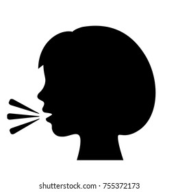 Talking girl vector icon illustration isolated on white background
