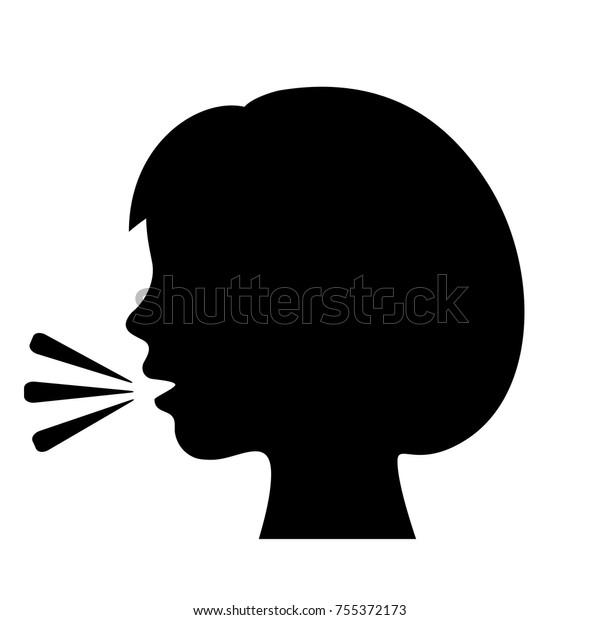 白い背景に話す女の子のベクター画像アイコンイラストの