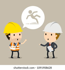 Talking to the manager about workplace safety, Vector illustration, Safety and accident, Industrial safety cartoon