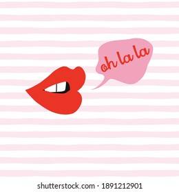 Talking mouth with Oh dear french slang quote in speech bubble on pink and white stripes background. Red lipstick makeup sexy woman lips with funny message fashion vector illustration