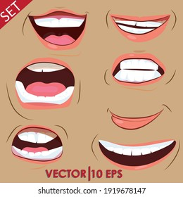 Talking mouths lips for cartoon character animation.