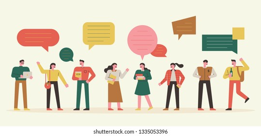 talking people and talking bubble set. flat design style minimal vector illustration
