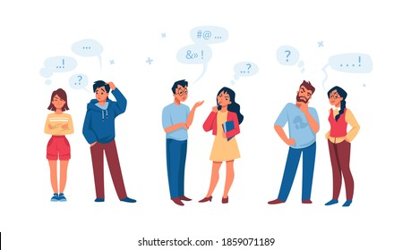 Talking people. Cartoon men and women communication. Collection of asking, thinking and wondering young male and female. Isolated confused persons with speech bubbles. Vector bad conversation set
